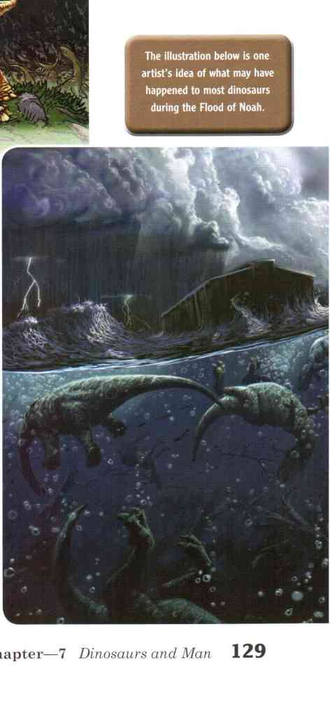 Dinosaurs drown beneath Noah's Ark.