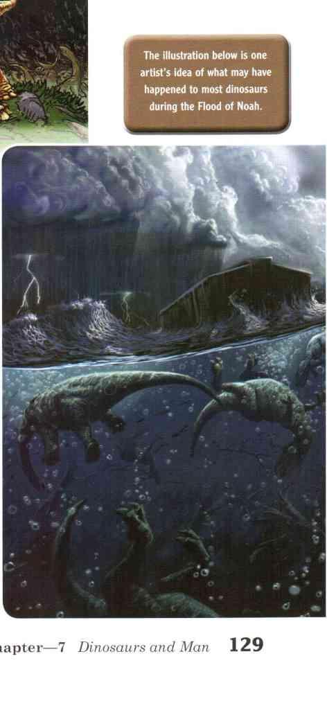 Dinosaurs drown beneath Noah's Ark.