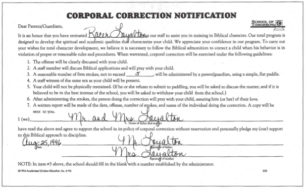 Corporal Correction Release Form